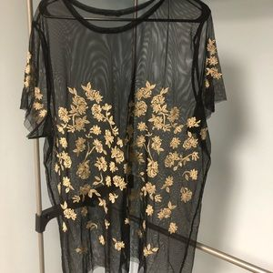 Floral And Mesh Shirt